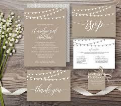 Wedding Invitation Set Templates Kraft Wedding Invitation Template Rustic String Lights Modern