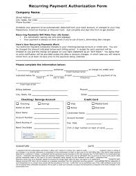 recurring payment authorization form template credit recurring payment authorization form template credit card ach