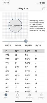 Ring Size Chart Phone Ring Sizer By Jason Withers On The App Store