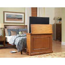 touchstone elevate end of bed or anyroom theater lift cabinet for 24 46 inch screens honey oak 72009
