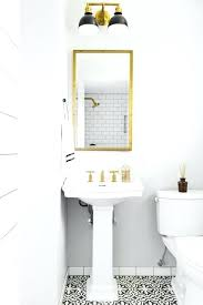 Restoration Hardware Pedestal Sink Rivet Medicine  Cabinet Is Mounted To A Light Gray Wall Below Black And Gold 2 Sconce  Restoration Hardware Sink D64