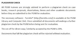 postgraduate institute of medicine plagiarism check plagiarism