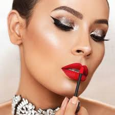 holiday makeup looks silver makeup and red lipstick