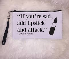 Chanel Beauty Quotes Best of LIPSTICK Clutch Quote Clutch Clutch Makeup Clutch Coco Chanel