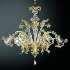 c grande 6 lights murano chandelier transpa gold