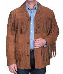 western style fringe jacket mens brown fringe suede leather jacket