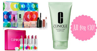 you can get a 5 piece clinique full size lipstick set a 7 piece clinique gift set and clinique foaming sonic soap all for