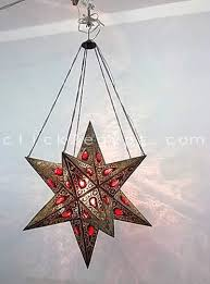 br296 antique moroccan art style pierced red crystal star lamp