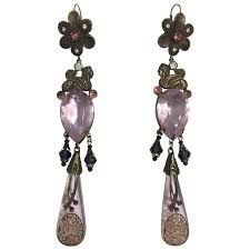 egyption inspired 1920 s czech crystal drop chandelier earrings for