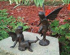 fairy garden statues. Cast Iron Garden Fairy Ornament Figurine Statue Set Of 2 - Standing Sitting Yard Statues