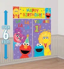 sesame street 1st birthday scene setter wall decoration happy party backdrop 1