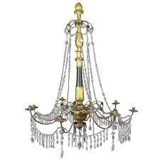 italian neoclassic giltwood and cut glass chandelier