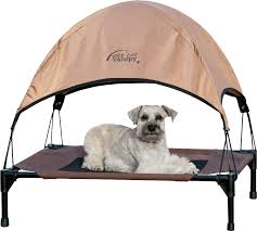 image of outdoor elevated dog bed with canopy