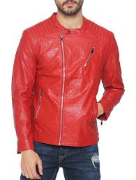 red faux leather biker jacket by the indian garage co ping for biker jacket in india 14394969