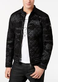 guess men s quilted camouflage faux leather jacket