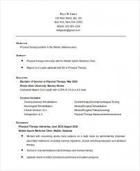 Counseling Psychologist Sample Resume New Free Download Sample Physical Therapist Resume 48 Free Word Pdf