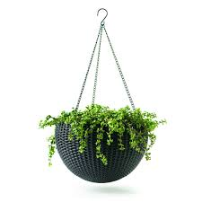 Round Rattan Wicker Plastic Resin Garden Plant Hanging Planters (Set of 2)  - Free Shipping Today - Overstock.com - 18930330