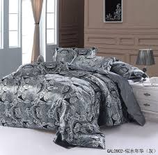 grey silver silk bedding set sheets paisley super king size queen quilt duvet cover bed in