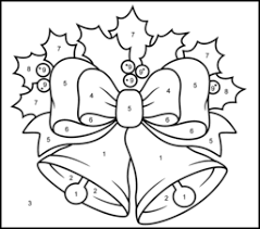 Prnate monochrome christmas golden bells with red bow. Christmas Coloring Pages
