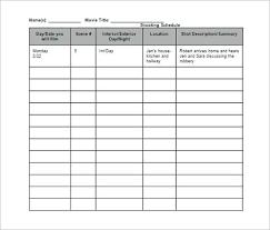 Shooting Schedule Sample Film Shooting Schedule Template 9 Free Word Excel Pdf