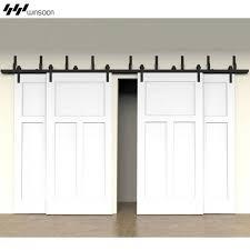 winsoon modern 4 doors byp sliding barn door hardware track kit 5 16ft bent