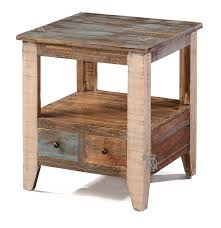 solid pine wood rustic end table with drawer in multi colored finish