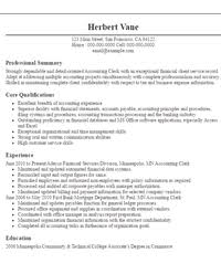 Objective In Resume Sample 1 Accounting Clerk Objectives