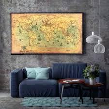 world map geometric metal wall decor vintage nautical aspire gear ocean sea retro old art paper