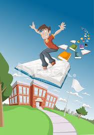cartoon boy flying on big book over
