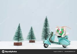 toy motorbike gifts trees town stock photo