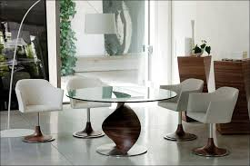 glamorous dining room table with swivel chairs contemporary image