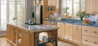 Captivating Thomasville Natural Maple Kitchen Cabinet With Blue Marble Countertop Mount  Stainless Steel Sink Plates Rack Stainless Steel Refrigerator Nice Look