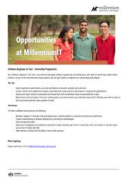 software engineer in test at millenniumit career first millenniumit is seeking candidate for software engineer in test position you need a bachelor s degree in computer science engineering or related