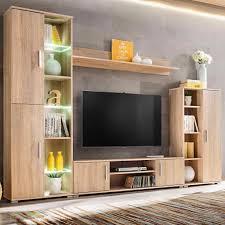 Tv Set Cabinet Designs H4home Modern Tv Wall Unit With Led Lights Sonoma Oak