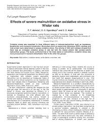 effects of severe malnutrition on oxidative stress in wistar rats effects of severe malnutrition on oxidative stress in wistar rats pdf available
