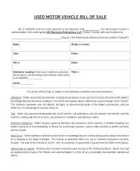 Auto Dealer Template Bill Of Sale Vehicle No Warranty For
