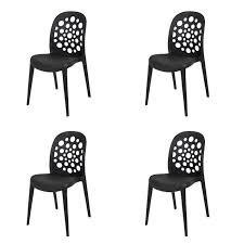 set of 4 garden chairs plastic black