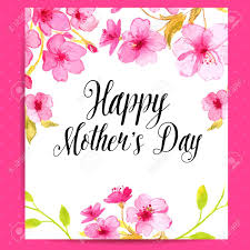 Happy Mothers Day Card With Cherry Blossom Vector Layout With