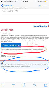 Email Scams Scam Bank Of America Email Scams