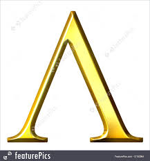 letters and numbers 3d golden greek letter lambda isolated in white