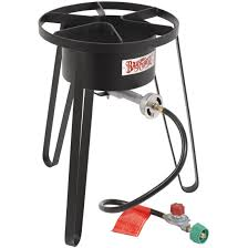bayou classic high pressure outdoor stove with full windscreen on tall stand