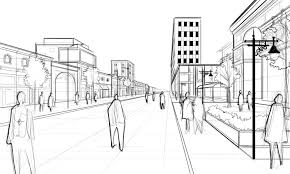 rough architectural sketches. Architectural Street Scene Layer Rough Sketches