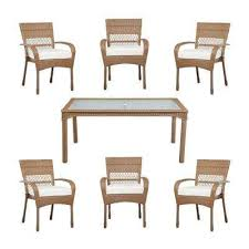 martha stewart wicker patio set charlottetown natural all weather wicker 7 piece patio dining set with