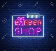 Neon Sign Logo Design Barber Shop Logo Neon Sign Logo Design Elements Can Be Used