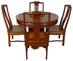 consigned vintage chinese rosewood round dining table with 4 chairs