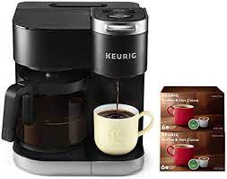 With the choice of three cup sizes, the k50 offers a removable drip tray to accommodate travel mugs. Amazon Com Keurig K Duo Coffee Maker Single Serve And 12 Cup Carafe Drip Coffee Brewer Compatible With K Cup Pods And Ground Coffee Black With 12 K Cups Kitchen Dining