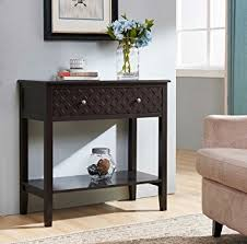 espresso entryway table. Espresso Finish Pattern Design Console Sofa Entry Table With Shelf / Drawer Entryway A