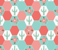 hexagon cheater quilt cactus blanket cactus quilt cute hexies ... & hexagon cheater quilt cactus blanket cactus quilt cute hexies patchwork  blanket cheater hexagon blanket coral mint Adamdwight.com