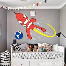 tin tin rocket wall art stickers wall