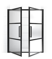 clever ideas black steel framed shower doors gridscape series coastal frame manufacturer